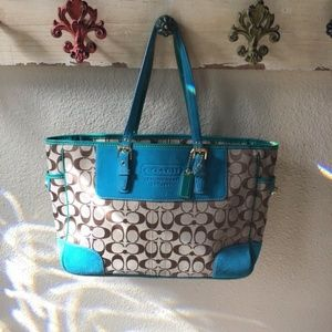 COACH signature collection brown & Turquoise purse